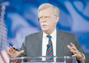 FORMER U.S. AMBASSADOR to the U.N. John Bolton speaks at the Conservative Political Action Conference in Oxon Hill, Md in this Feb. 24, 2017 file photo. President Trump is replacing National security adviser H.R. McMaster with Bolton.