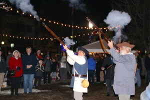 Muskets in position, a couple of Colonial re-enactors helped Sanford celebrate its 250th birthday in period style on Tuesday, Feb. 27. TAMMY WELLS/Journal Tribune