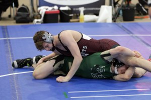 Noble freshman Josh Cote battles an opponent in Providence on Saturday. JASON GENDRON PHOTOGRAPHY