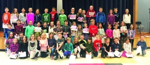 Many Wells Elementary School first- through fourth-grade students were recognized recently for demonstrating the school's core values. SUBMITTED PHOTO