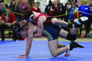 Sanford's Sam Anderson competes in the New England Wrestling Championships on Friday. JASON GENDRON PHOTOGRAPHY