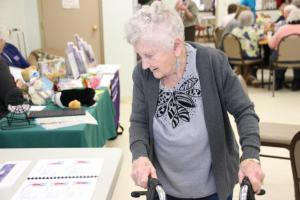Isabelle Coleman checks out the information available at a Healthy Living Expo put on by York County Community Action Corporation's Thriving in Place program at Trafton Senior Center in Sanford in this file photo from  2017. The 2018 Healthy Living Expo is set for April 2. TAMMY WELLS/Journal Tribune File Photo