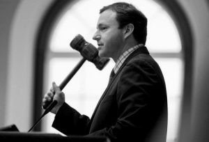 THEN HOUSE SPEAKER Mark Eves presides over budget discussions at the State House in Augusta in this June 16, 2015 file photo. AP FILE PHOTO/ROBERT F. BUKATY