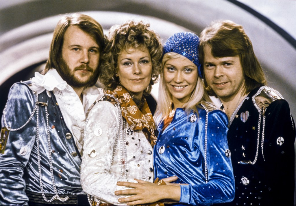 "The Swedish pop group Abba shown in 1974, from left: Benny Andersson, Anni-Frid Lyngstad, Agnetha Faltskog and Bjorn Ulvaeus posing after winning the Swedish branch of the Eurovision Song Contest with their song ""Waterloo""."