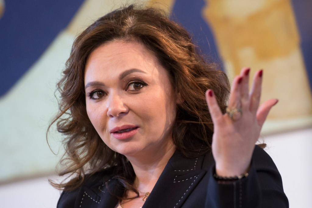In this Sunday, April 22, 2018 file photo, Russian lawyer Natalia Veselnitskaya speaks during an interview with The Associated Press in Moscow, Russia.