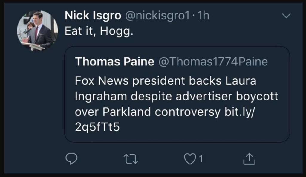 """Waterville Mayor Nick Isgro posted a tweet in which he appears to have told Florida school shooting survivor David Hogg to """"Eat it, Hogg."""" The tweet has since disappeared from Isgro's Twitter feed."""