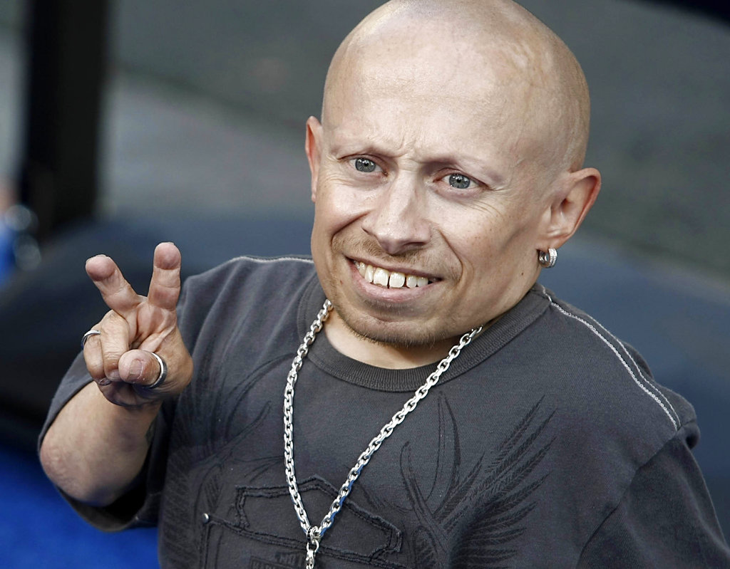 "Actor Verne Troyer poses on the press line at the premiere of the feature film ""The Love Guru"" in Los Angeles in 2008."