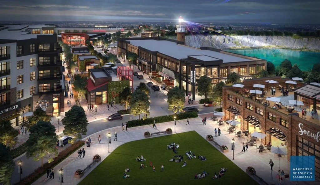 "This rendering envisions Waterstone Properties Group's proposal for a mixed-use urban development called ""Rock Row"" on the 26-acre former Pike Industries quarry site in Westbrook. The developer said last year that Market Basket would anchor the retail portion of the venture."