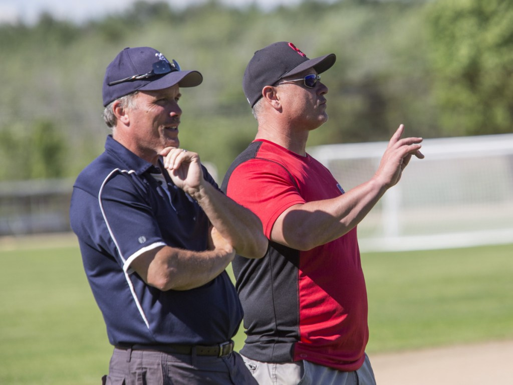 Portland Coach Mike Rutherford, left, and Scarborough Coach Mike D'Andrea agree that Class A South is wide open this season.