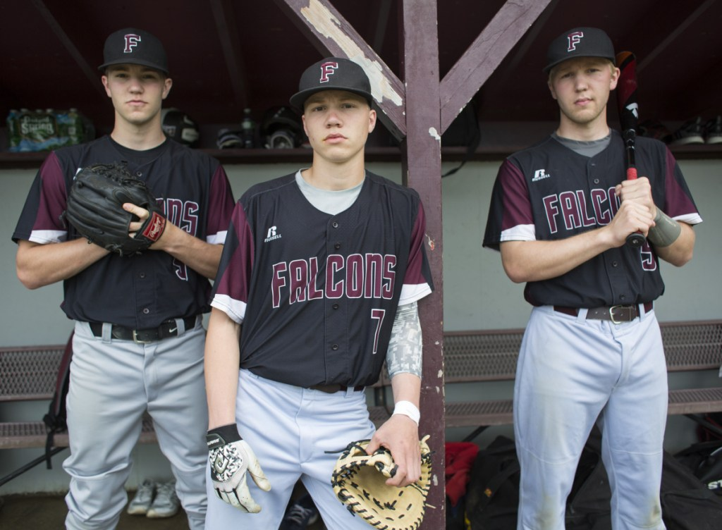 The Wagner brothers not only have bonded as teammates in baseball, but played together in soccer and basketball for Freeport. From left are Shea, a junior; Gabe, a sophomore; and Colby, a senior.
