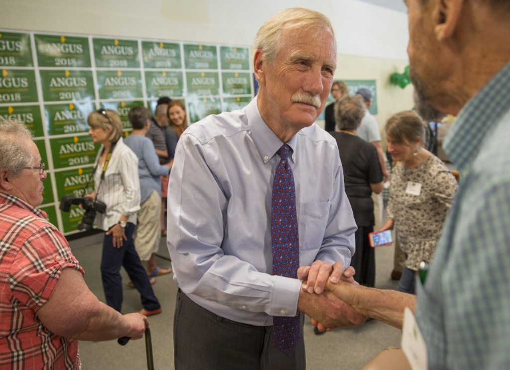 U.S. Sen. Angus King, shown in May 2018, has resumed treatment for prostate cancer, his office announced Friday, but he's expected to make a full recovery.