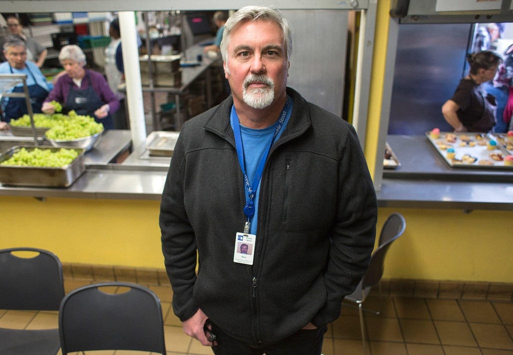 """Mark Swann has been Preble Street's executive director since 1991. """"I can try to live up to the example my dad gave, but also make a living at it,"""" he said."""