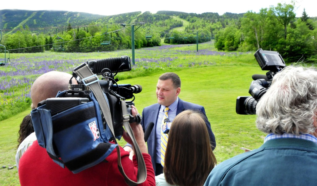 Sebastian Monsour of the Majella Group speaks with Saddleback Mountain in the background after his company agreed to buy the ski area in June 2017. On Thursday, Monsour was in jail in Australia.