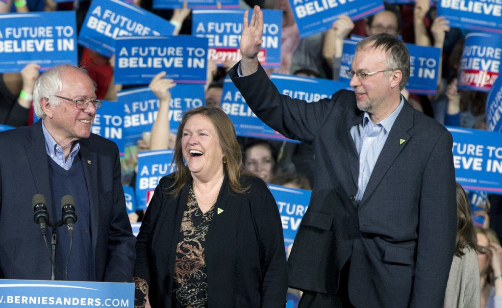 Democratic presidential candidate Sen. Bernie Sanders, I-Vt., his wife, Jane Sanders, and his son Levi Sanders arrive at a primary night rally in Essex Junction, Vt., in 2016. Levi Sanders is one of 11 candidates seeking a N.H. congressional seat.