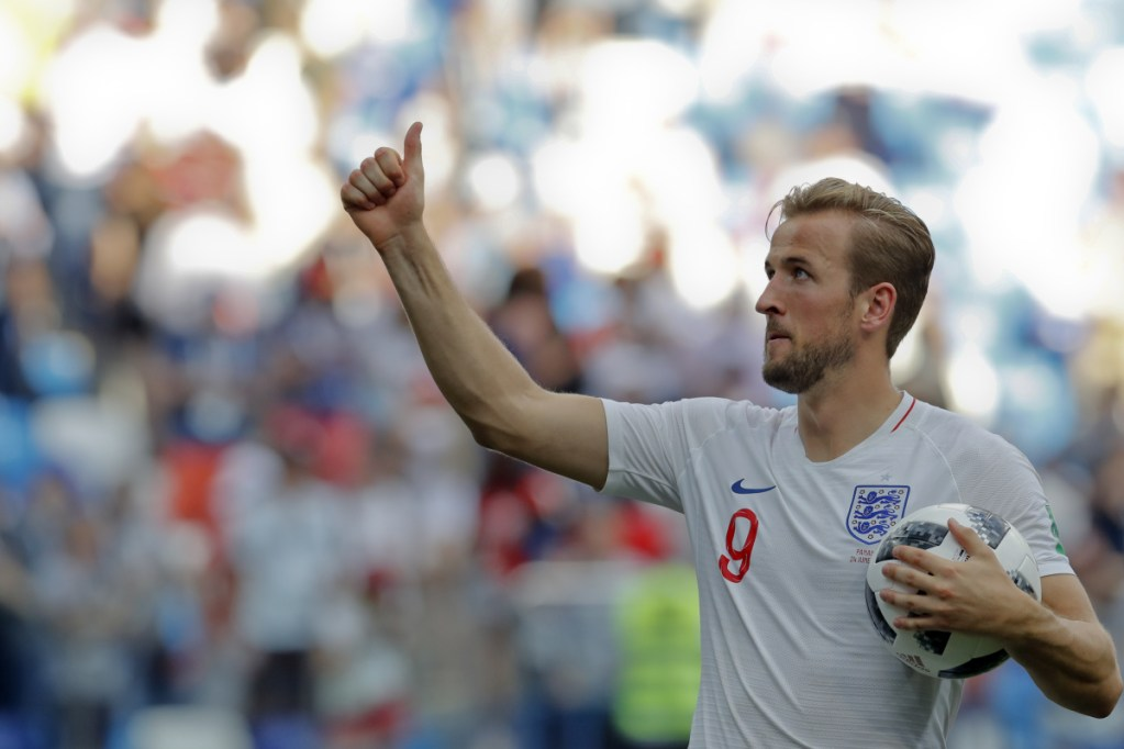 England's Harry Kane celebrates his team's 6-1 victory at the end of their group G match against Panama at the 2018 World Cup in Nizhny Novgorod, Russia on Sunday.