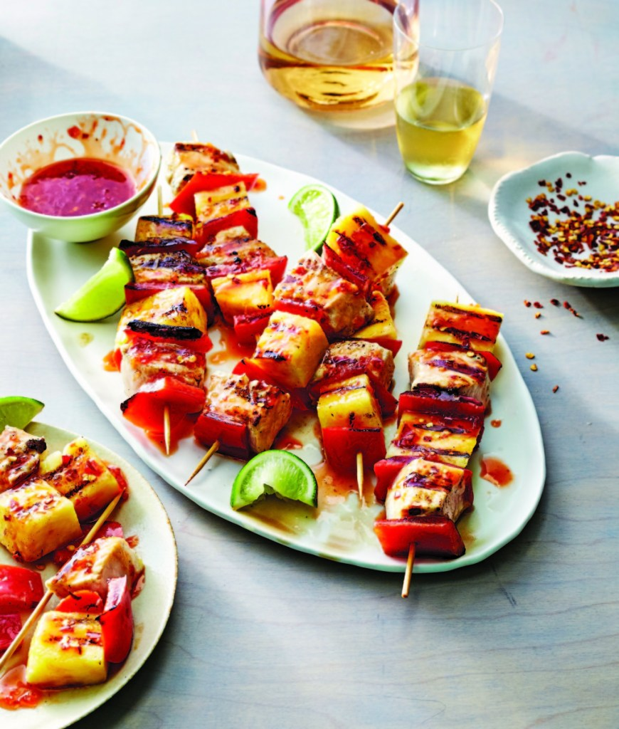 """Sweet and Sour Swordfish and Pineapple Skewers. """"The All-New Fresh Food Fast"""" book includes up-to-date recipes for everything from breakfasts to desserts."""