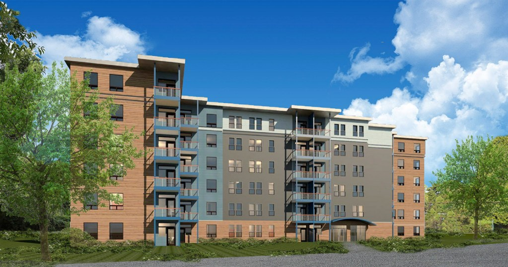 This is one of four, six-story apartment buildings that South Portland developer Vincent Maietta plans to build at 450 Clark's Pond Parkway, near the Maine Mall. The Residences at Clark's Pond, a 256-unit complex, received preliminary subdivision approval from the Planning Board on Wednesday.