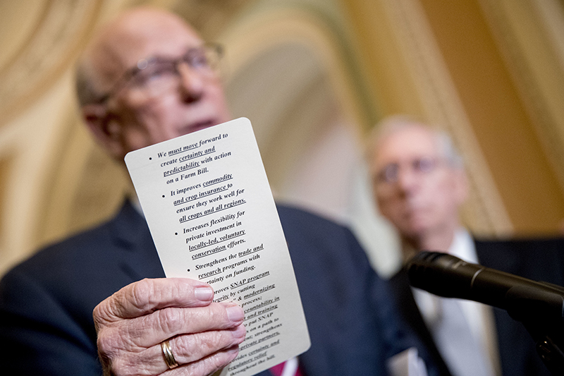 Sen. Pat Roberts, R-Kan., left, accompanied by Senate Majority Leader Mitch McConnell of Ky., right, reads from notes on the farm bill in Washington on Tuesday.