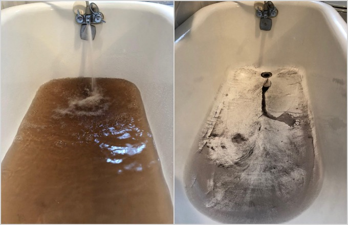 Sediments clouds and colors the water flowing into a tub and what was left after draining the same tub in Waterville on Monday.A water line that broke off North Riverside Drive on Monday stirred up sediment in the district's piping causing discoloration that is nevertheless safe to drink and use, according to the Kennebec Water District.