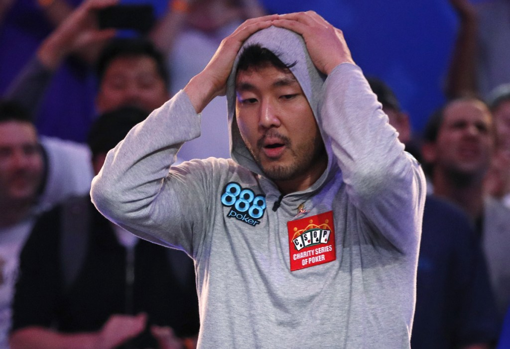 John Cynn reacts after winning the World Series of Poker main event Sunday in Las Vegas.