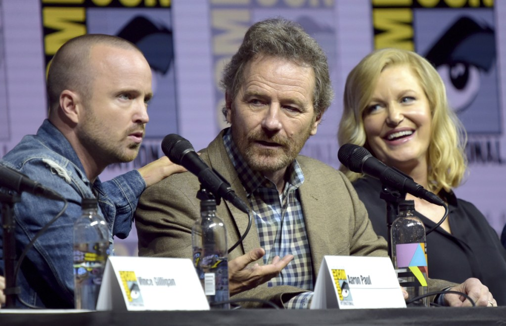 Aaron Paul, from left, Bryan Cranston and Anna Gunn attend Comic-Con International on Thursday in San Diego. Associated Press/Richard Shotwell/Invision/AP