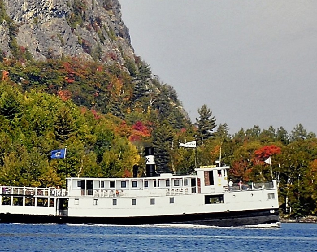 The Katahdin cruises by Mount Kineo on Moosehead Lake during a fall cruise in this relatively recent photo.
