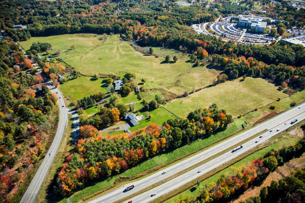 This aerial photograph shows the site in Portland's Stroudwater neighborhood that will become Stroudwater Preserve.