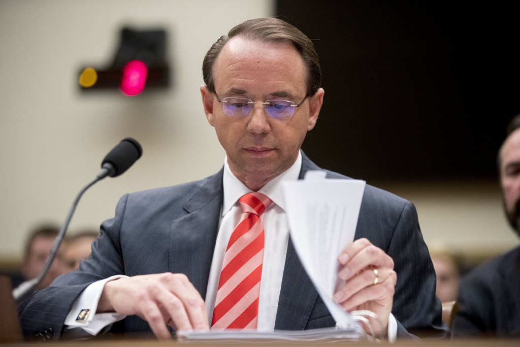 Deputy Attorney General Rod Rosenstein appearing before a House Judiciary Committee hearing in late June.