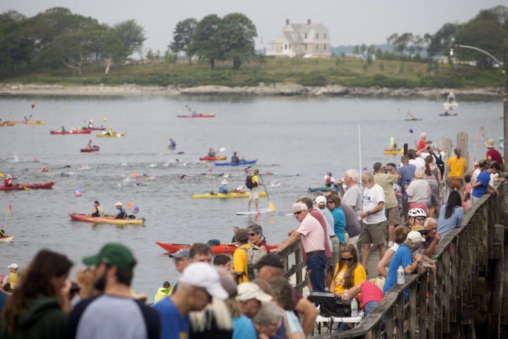 A crowd watches from the dock as the swimmers take off from Peaks Island during  the 36th annual Peaks to Portland swim in 2017.