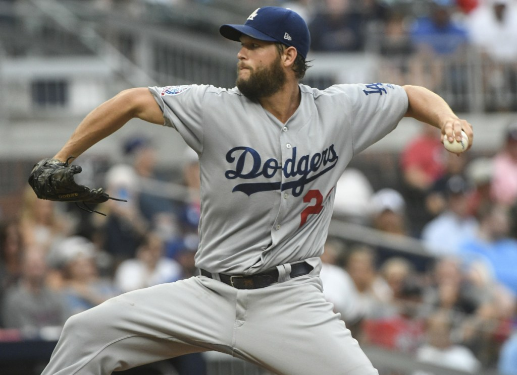 Clayton Kershaw of the Los Angeles Dodgers delivers a pitch Friday night in the first inning of a 4-1 victory against the Atlanta Braves.