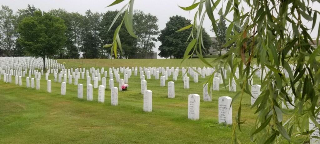 Headstones at the Maine Veterans Memorial Cemetery on Mount Vernon Road in Augusta. Cemetery officials say they get about 10 inquiries a month about the possibility of green burials.
