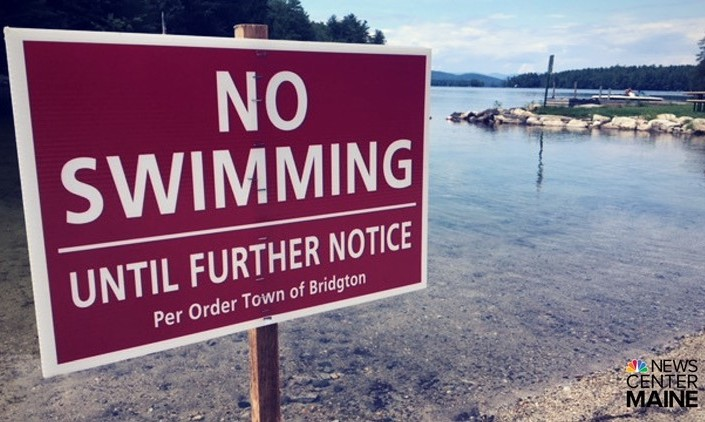 The public swimming area at Highland Lake in Bridgton was shut down Tuesday.