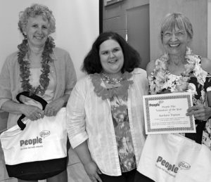VOLUNTEERS gathered at People Plus last week for their annual Volunteer Appreciation event. Top honors went to Barbara Wyman, right, who was named People Plus Volunteer of the Year, and Carol Israel, left, awarded Brunswick Area Teen Center Volunteer of the Year, pictured along with Amy Feeley, volunteer at the center. Not pictured, board member Jack Hudson who was named Board Trustee Volunteer of the Year. Nearly 200 volunteers support more than 50 health, wellness, technology, education, creative, social and outreach programs each month at the People Plus Center in Brunswick. Visit peopleplusmaine.org for more information. PHOTO BY PEOPLE PLUS STAFF