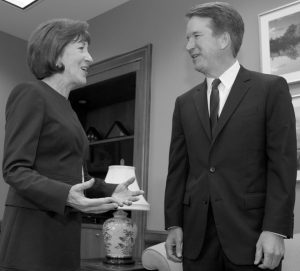 SEN. SUSAN COLLINS, R-Maine, speaks with Supreme Court nominee Judge Brett Kavanaugh at her office, before a private meeting on Capitol Hill in Washington on Tuesday. AP PHOTO/JOSE LUIS MAGANA