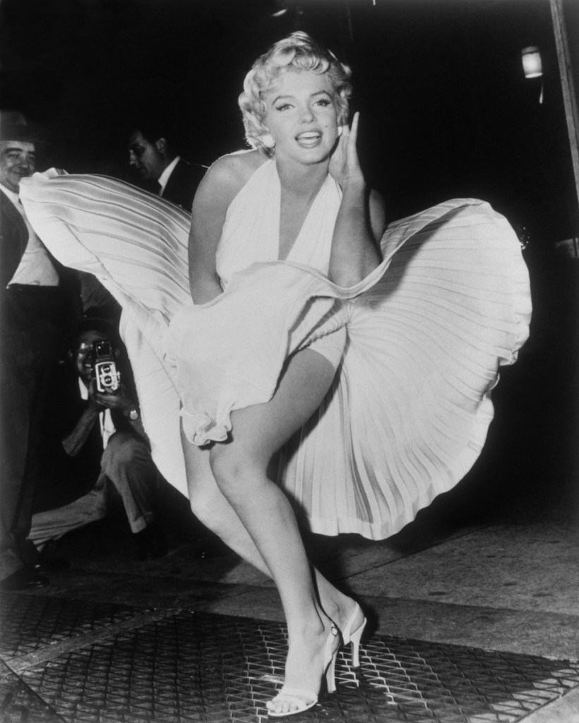 "Marilyn Monroe poses over the updraft of a New York subway grate while filming ""The Seven Year Itch"" in New York in 1954."