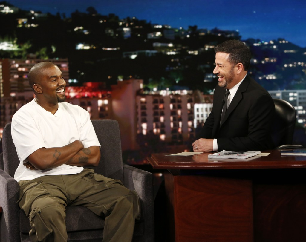 """Kanye West discusses his support for President Trump on ABC's """"Jimmy Kimmel Live"""" on Thursday."""