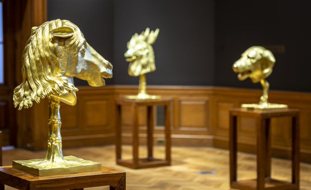 "Ai Weiwei's ""Circle of Animals/Zodiac Heads: Gold"" is on view at the Farnsworth Art Museum in Rockland."