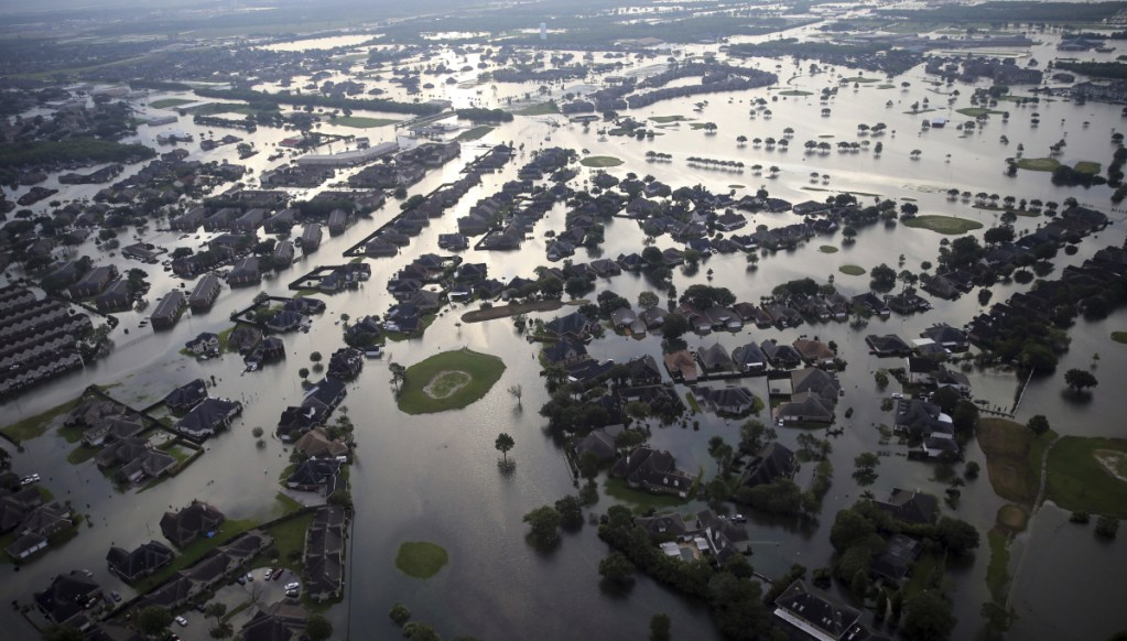 On Aug. 31, 2017, floodwaters spread from Tropical Storm Harvey, swamping much of Port Arthur, Texas.