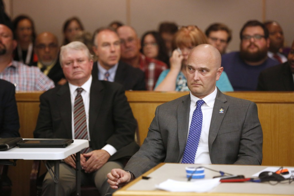 Fired Balch Springs, Texas, police officer Roy Oliver, who was charged with the April 2017 killing of 15-year-old Jordan Edwards, sits before the reading of the guilty verdict during his trial in Dallas on Tuesday.