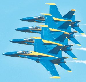 THE U.S. NAVY'S BLUE ANGELS flight demonstration team was part of the air show at Brunswick Landing in 2017. CONTRIBUTED PHOTO