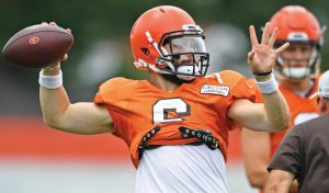 CLEVELAND BROWNS quarterback Baker Mayfield throws during NFL football training camp on Tuesday. THE ASSOCIATED PRESS