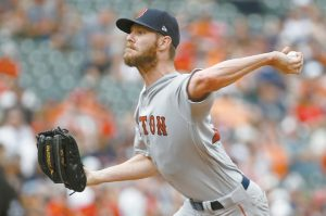 BOSTON RED SOX starting pitcher Chris Sale throws in the second inning to the Baltimore Orioles in a baseball game in Baltimore recently. Sale went on the 10-day DL again. THE ASSOCIATED PRESS