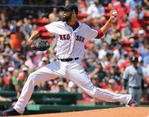 BOSTON RED SOX starting pitcher David Price delivers to the Cleveland Indians in the second inning of a baseball game on Thursday in Boston. The Red Sox rolled to a 7-0 win. THE ASSOCIATED PRESS