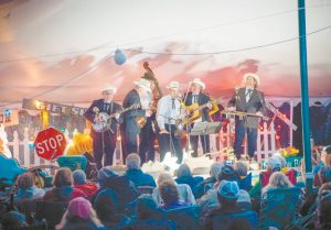 THE EARLS OF LEICESTER, founded by Jerry Douglas, perform under the tent at last year's Thomas Point Beach Bluegrass Festival. COURTESY OF THOMAS POINT BEACH BLUEGRASS FESTIVAL