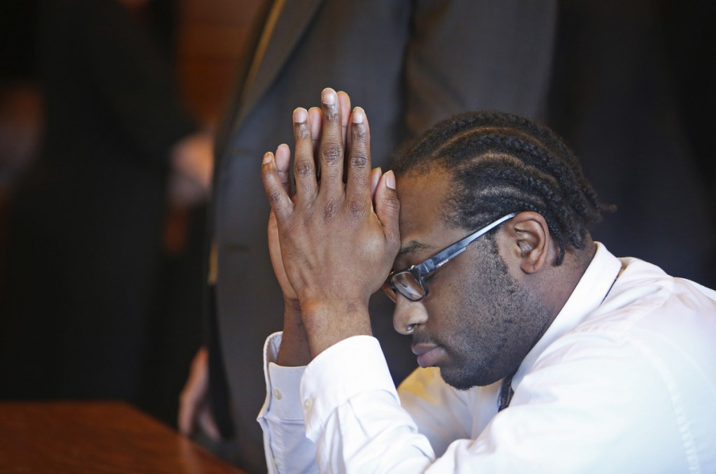 David Marble Jr. reacts July 19 after hearing the jury's guilty verdict in Cumberland County Superior Court.