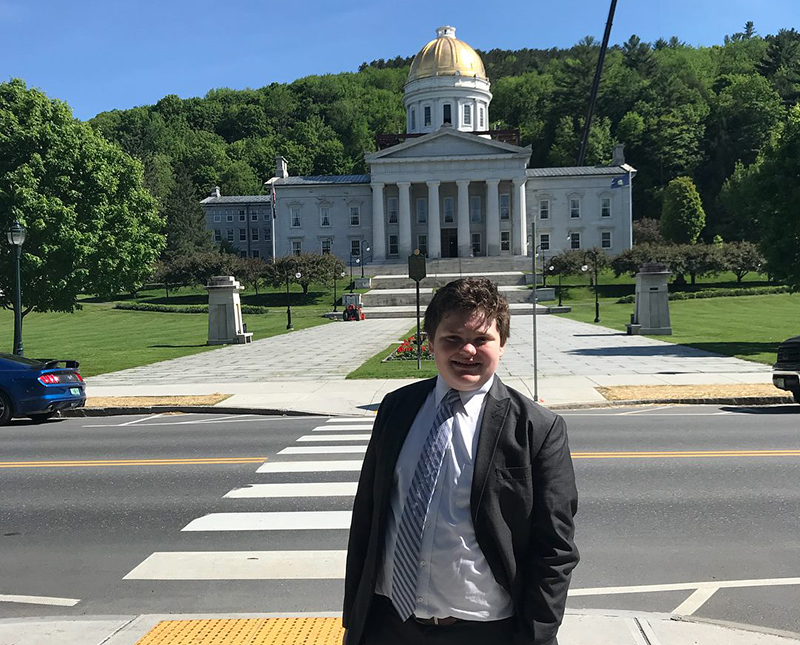 Ethan Sonneborn in front of the Vermont State Capitol.