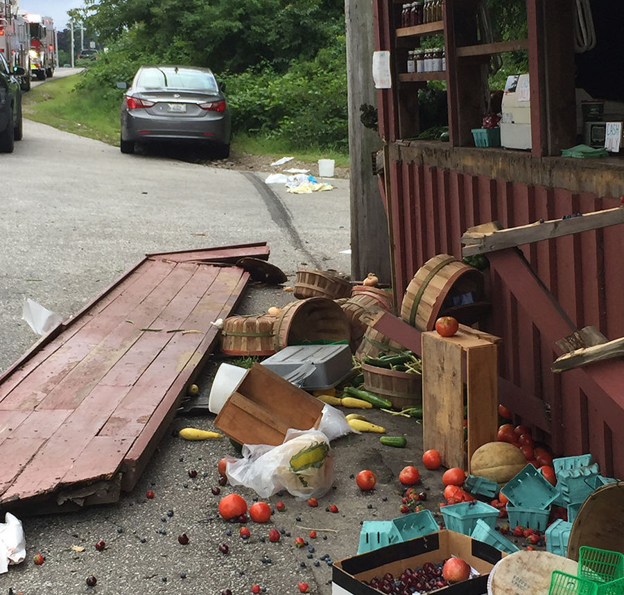 Site of crash at Chase Farms farmstand in Wells.