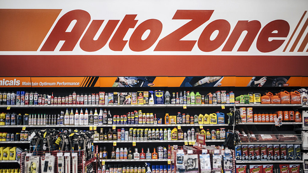 AutoZone signage hangs above automotive products and accessories for sale at a store in Memphis, Tennessee on May.