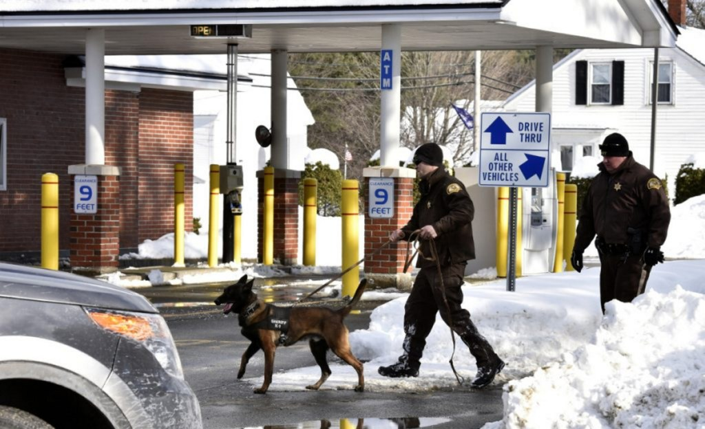 Police officers and a dog look for evidence in January near the drive-thru section after an armed robbery at the Skowhegan Savings Bank branch in Norridgewock.