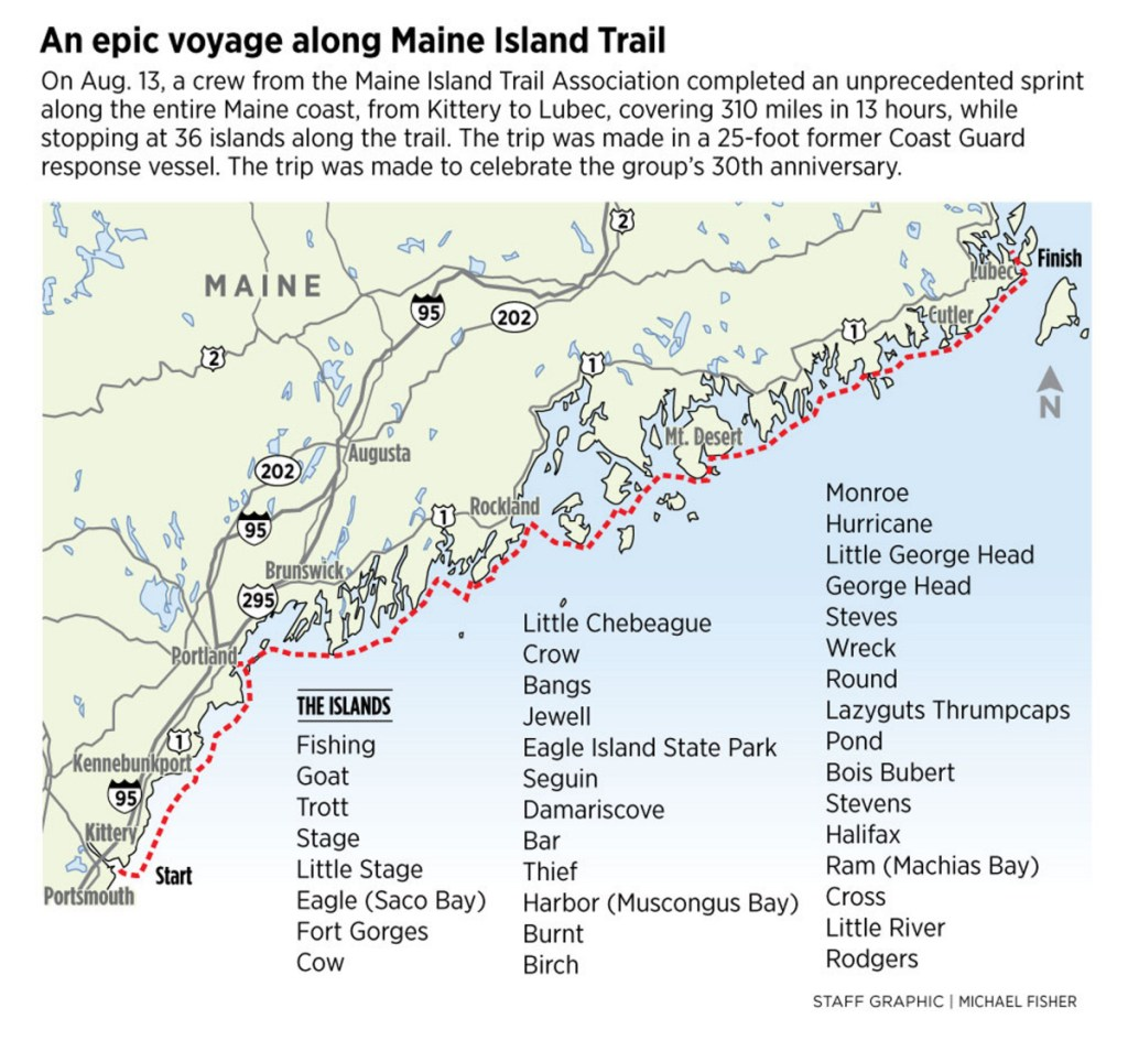 An epic voyage covers 310 miles of coastline in 13 hours ... Maine Island Trail Map on north maine woods map, maine coast map, cliff lake maine map,